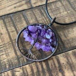 Copper Amethyst Tree of Life Pendant Necklace